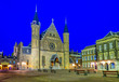 Leinwandbild Motiv Night view of the inner courtyard of the Binnenhof palace in the Hague, Netherlands