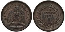 Mexico Mexican Copper Coin 1 O...
