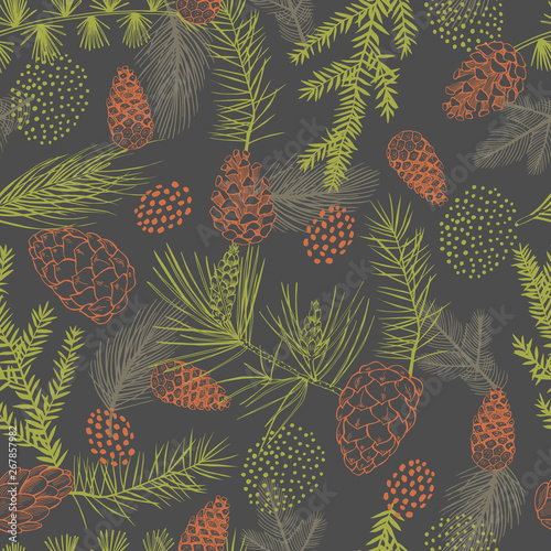 fototapeta na lodówkę Vector seamless pattern with hand drawn Christmas plants