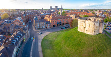 Aerial View Of Cliffords Tower In York, England