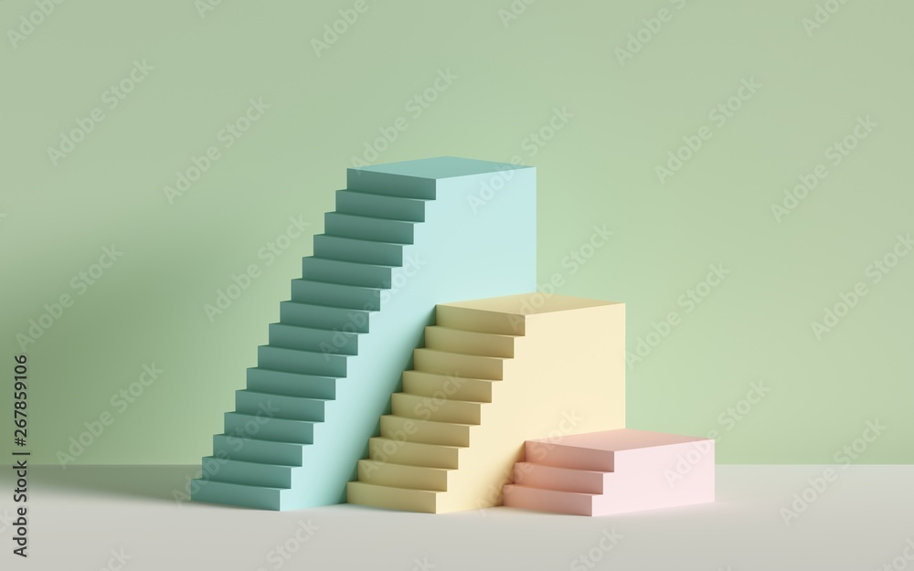 Fototapeta 3d render, yellow blue pink stairs, steps, abstract background in pastel colors, fashion podium, minimal scene, primitive architectural blocks, design element