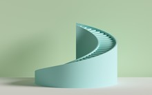3d Render, Spiral Stairs, Steps, Cylinder, Abstract Background In Pastel Colors, Minimal Scene