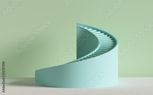 Valokuva 3d render, spiral stairs, steps, cylinder, abstract background in pastel colors,