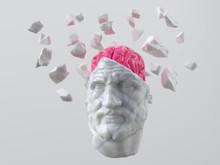 Artificial Brain In A Broken Head Of An Ancient Man