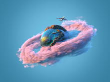 Airplane Flies Over The Small Planet
