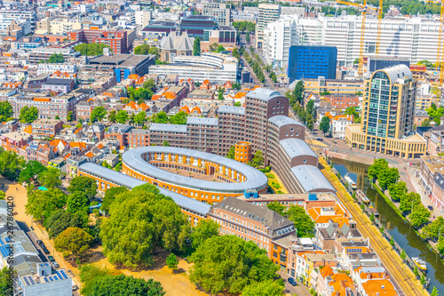 Foto op Canvas Barcelona Aerial view of the old town of the Hague, Netherlands