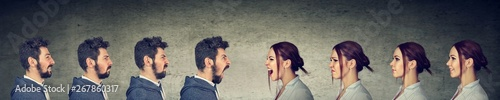 Photographie Young couple, man and woman, fighting and shouting at each other