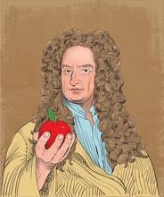 Isaac Newton Portrait In Line ...
