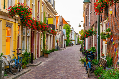 Narrow street in the center of Delft, Netherlands - 267864561