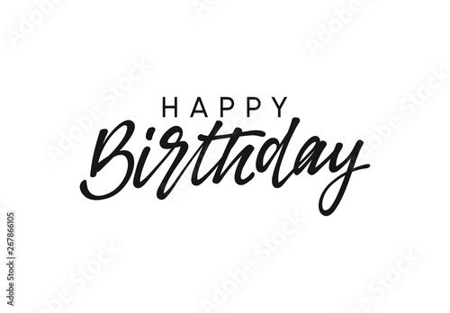 Photo Happy birthday handwritten text lettering on white background.