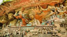 Ancient Buddhist Hillside Rock...