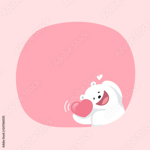 White Bear Cartoon Character Cute On Pink Pastel Color Background For Banner Copy Space Empty White Bear On Speech Bubble Template Empty Banner Teddy Bear Mascot Cartoon Beautiful Buy This Stock