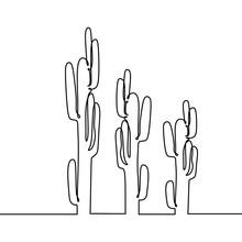 Cactus One Line Continuous Drawing Minimalism Design
