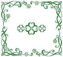 Green Hand Drawn Ornate Vector...