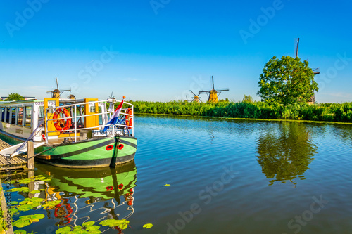Kinderdijk windmills viewed during sunny summer day, Rotterdam, Netherlands