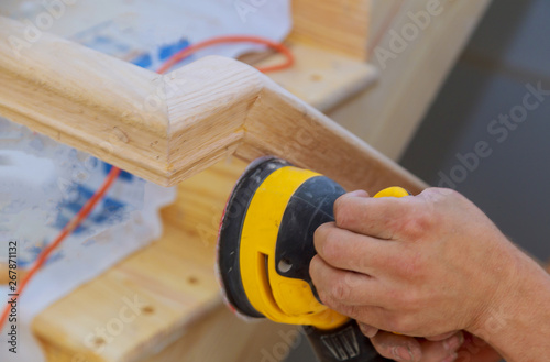 Photo Stairs renovtion handrails renovation sander for wooden handrails
