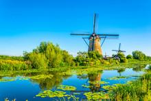 Kinderdijk Windmills Viewed During Sunny Summer Day, Rotterdam, Netherlands