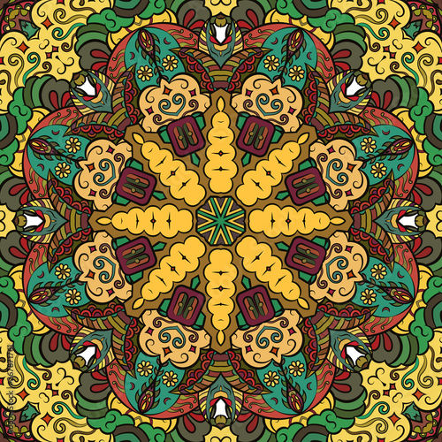 Deurstickers Marokkaanse Tegels Seamless tracery tile mehndi design. Ethnic ornament, colorful doodle symmetry texture. Folk traditional spiritual tribal design. Curved doodling motif. Color art. Vector