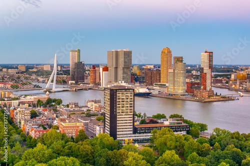 Rotterdam Sunset aerial view of Erasmus bridge and skyline of Rotterdam, Netherlands