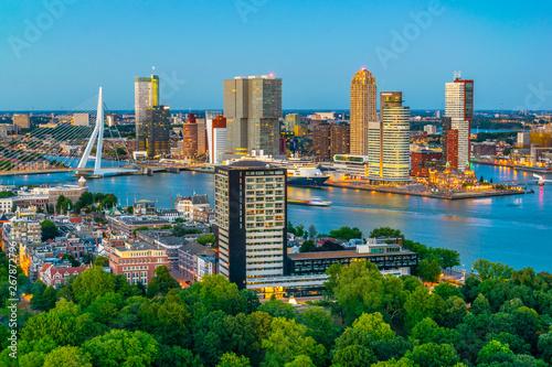 Staande foto Rotterdam Sunset aerial view of Erasmus bridge and skyline of Rotterdam, Netherlands