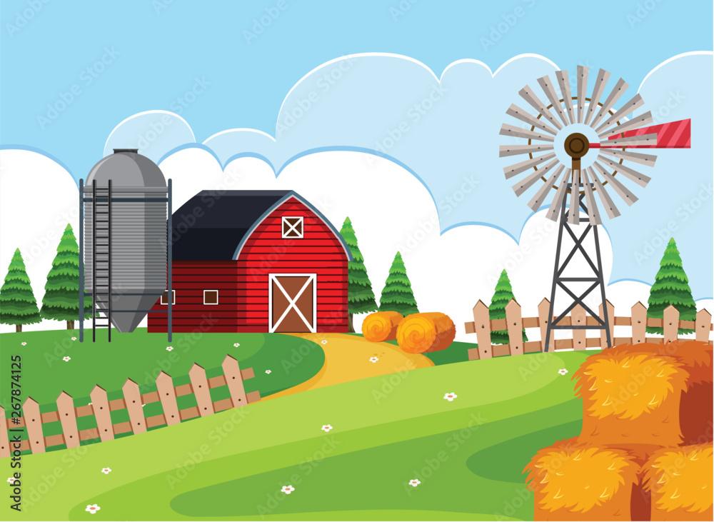 Fototapeta A rural farmland landscape