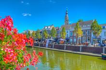 Promenade Alongside Niuewe Mark River In Breda Viewed Behind A Flower, Netherlands