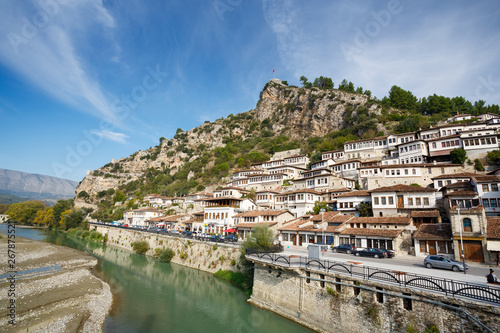 Berat, Albania. Traditional houses Canvas Print