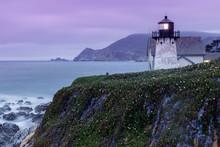 Twilight Skies At Point Montara Lighthouse. Montara, San Mateo County, California, USA.