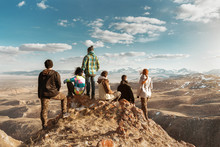 Group Of Tourists At Mountains Viewpoint