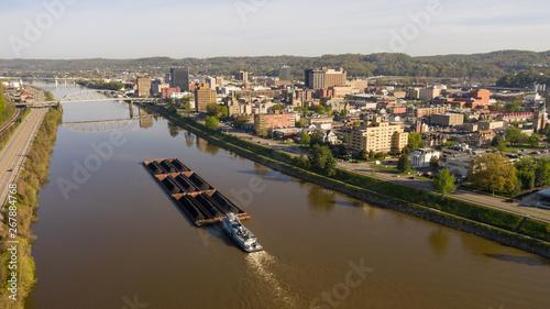 Barge Carries Coal Along Kanawha River and Charleston West Virgina Obraz na płótnie