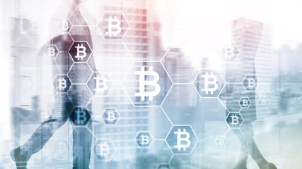 Bitcoin, Blockchain concept on server room background