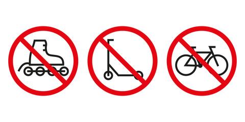 Rolki, hulajnoga i rower. Zestaw znaków zakazu wektor
