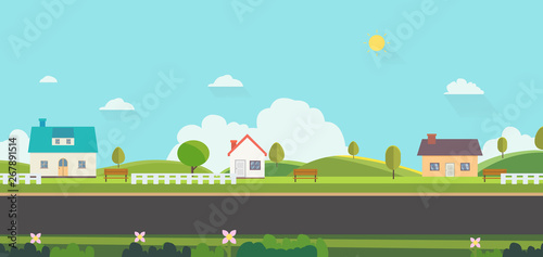 Photo Stands Light blue Beautiful nature landscape with houses, bench and fences background.Home with Green Hills and blue sky.Public park with nature and street.Vector illustration.Rural scene with home on street