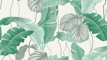 Tropical Forest Seamless Pattern, Banana Leaves And Calathea Orbifolia On Light Brown Background, Pastel Vintage Theme