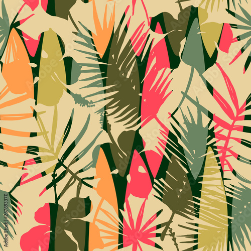 Foto auf Gartenposter Boho-Stil Abstract seamless pattern with tropical leaves. Vector template.