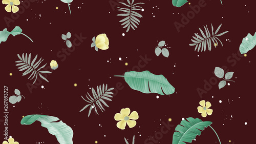Floral seamless pattern, banana leaves, yellow flowers and tropical plants on dark brown background, pastel vintage theme