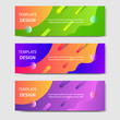 Vibrant gradient and modern futuristic fluid dynamic background template for headline and header banner in green, purple, orange color. Suitable for social media, web, blog, website.