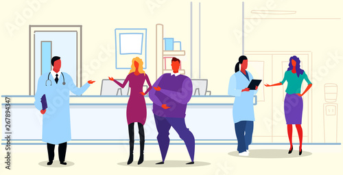 Fototapety, obrazy: man woman doctors in uniform discussing with patients standing hospital clinic reception medical consultation healthcare concept sketch doodle horizontal full length