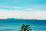 Blue sky with clouds over the sea. Seascape holiday background - 267895320