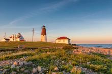 The Point Judith Light Near Narragansett, Rhode Island, At Sunset.