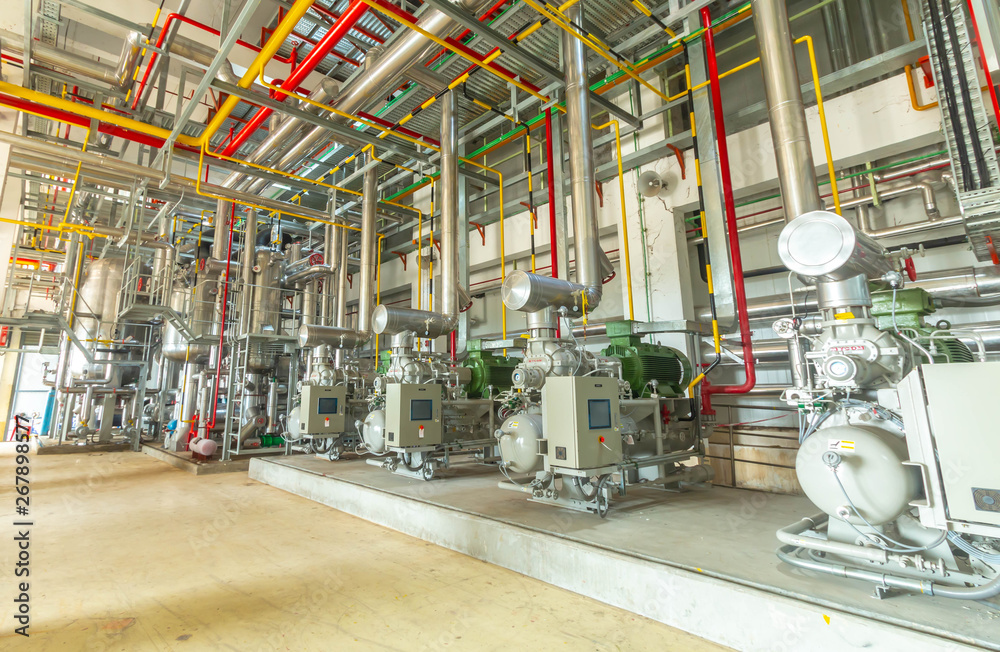 Fototapeta industrial compressor refrigeration station at manufacturing factory