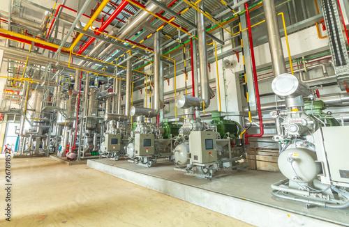 Fototapeta industrial compressor refrigeration station at manufacturing factory obraz