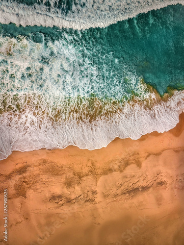 Tuinposter Londen Beautiful panoramic birds eye view on ocean waves, Fuerteventura