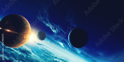 Abstract planets and space background - 267903575