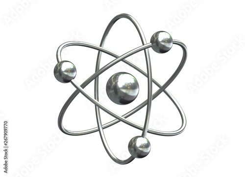 Fotografia 3D render of abstract model of atom isolated on white background.