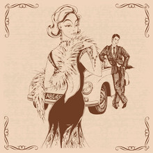 Elegant Lady And Gentleman In Retro Style. Car. Graphics. Vector