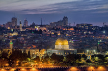 Night View Of The Landmarks Of Jerusalem Old City, Israel.