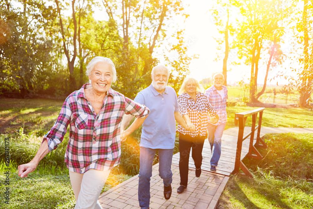 Fototapeta Gruppe Senioren in Bewegung im Sommer