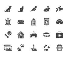 Pet Shop Flat Glyph Icons Set....
