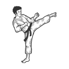 Karate Athlete Kick Foot Up On Head Area Sketch Engraving Vector Illustration. Scratch Board Style Imitation. Black And White Hand Drawn Image.